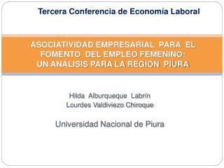Hilda  Alburqueque  Labrín Lourdes Valdiviezo Chiroque Universidad Nacional de Piura