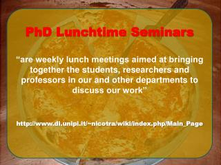 PhD Lunchtime Seminars