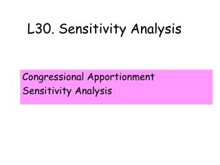 L30. Sensitivity Analysis