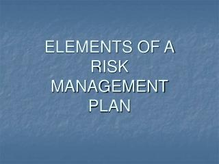 ELEMENTS OF A RISK  MANAGEMENT PLAN
