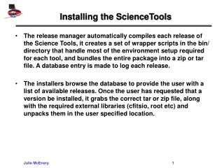 Installing the ScienceTools