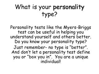 What is your  personality  type?