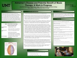Alzheimer's Disease and Potential Benefit of Music Therapy: A Work in Progress