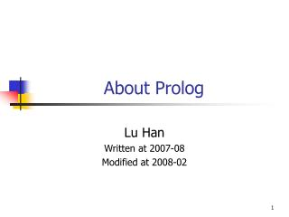 About Prolog
