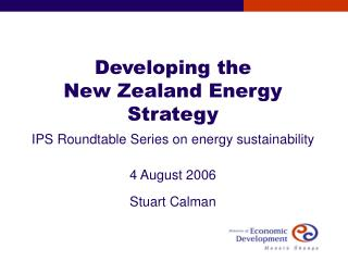 Developing the  New Zealand Energy Strategy