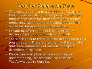 Teacher Reference Page