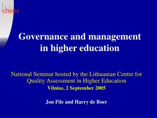 Governance and management in higher education