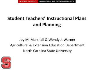 Student Teachers' Instructional Plans  and Planning