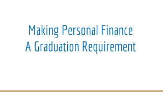 Making Personal Finance A Graduation Requirement