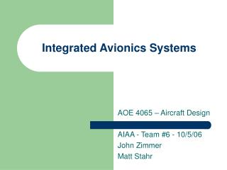 Integrated Avionics Systems