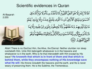 Scientific evidences in Quran