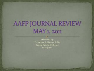 AAFP JOURNAL REVIEW MAY 1, 2011