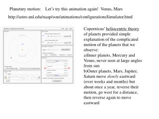 Planetary motion:    Let' s try this animation again!  Venus, Mars