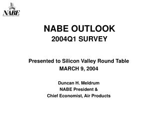 NABE OUTLOOK 2004Q1 SURVEY