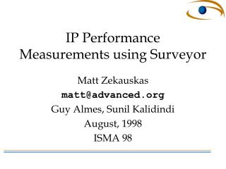 IP Performance Measurements using Surveyor