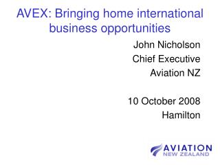AVEX: Bringing home international business opportunities