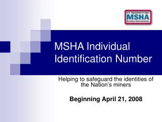 MSHA Individual Identification Number