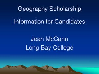 Geography Scholarship