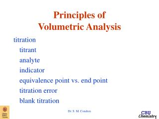 Principles of Volumetric Analysis