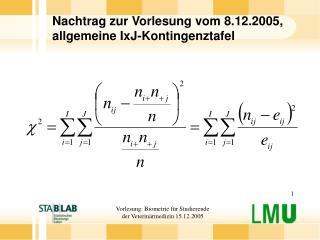 Nachtrag zur Vorlesung vom 8.12.2005, allgemeine IxJ-Kontingenztafel