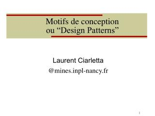 "Motifs de conception ou ""Design Patterns"""