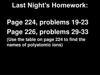 Last Night's Homework: