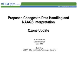 Proposed Changes to Data Handling and NAAQS Interpretation Ozone Update