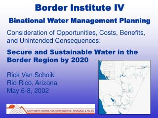 Border Institute IV Binational Water Management Planning