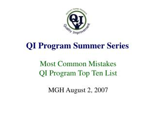QI Program Summer Series