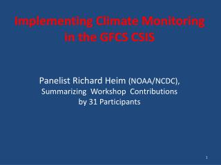 Implementing Climate Monitoring in the GFCS CSIS