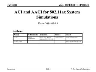 ACI and AACI for 802.11ax System Simulations