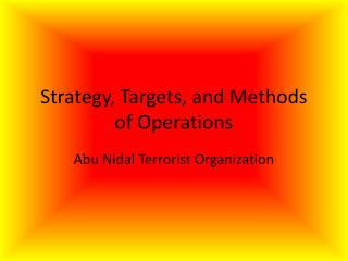 Strategy, Targets, and Methods of Operations