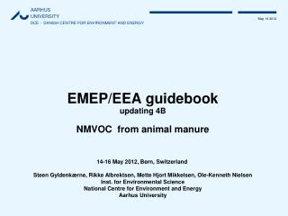 EMEP/EEA guidebook updating 4B NMVOC  from animal manure