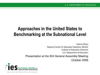 Approaches in the United States to Benchmarking at the Subnational Level