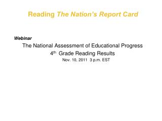 Reading  The Nation's Report Card