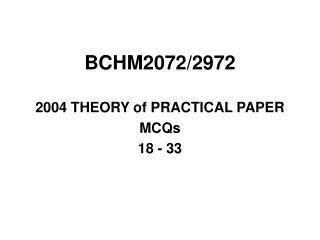 BCHM2072/2972
