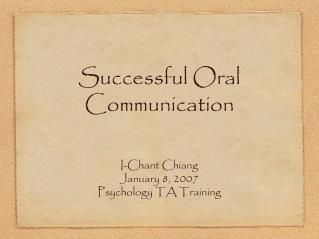 Successful Oral Communication