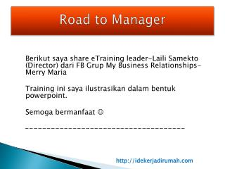 Road to Manager