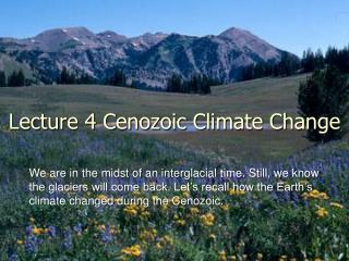 Lecture 4 Cenozoic Climate Change