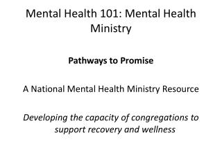 Mental Health 101: Mental Health Ministry