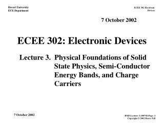 ECEE 302: Electronic Devices