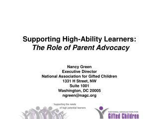 Supporting High-Ability Learners: The Role of Parent Advocacy