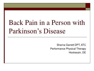 Back Pain in a Person with Parkinson's Disease