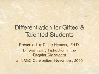 Differentiation for Gifted & Talented Students