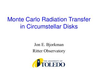 Monte Carlo Radiation Transfer  in Circumstellar Disks