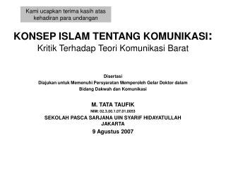 KONSEP ISLAM TENTANG KOMUNIKASI : Kritik Terhadap Teori Komunikasi Barat