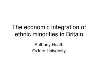 The economic integration of ethnic minorities in Britain