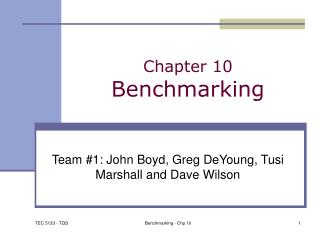 Chapter 10 Benchmarking