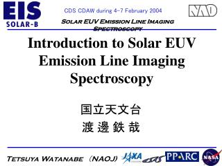 Introduction to Solar EUV Emission Line Imaging Spectroscopy