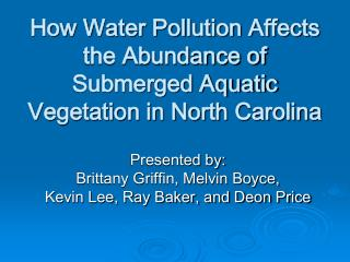 How Water Pollution Affects the Abundance of Submerged Aquatic Vegetation in North Carolina